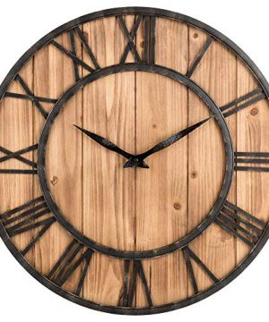 Upuptop Farm House Metal Solid Wood Wall Clock Kitchen Wall Clock Rustic Barn Vintage Bronze 16 Inch 0 300x360