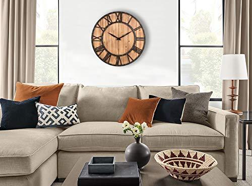 Upuptop Farm House Metal Solid Wood Wall Clock Kitchen Wall Clock Rustic Barn Vintage Bronze 16 Inch 0 4