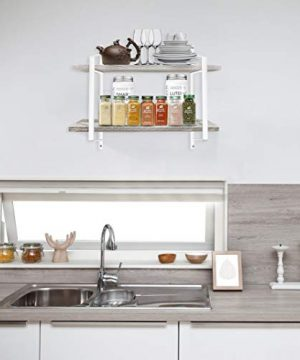 Urban Deco 2 Tier Wooden Floating Shelf Rustic Floating Shelves Wall Mounted Industrial Wall Shelves With Metal Brackets For KitchenBedroom Living Room Bathroom OfficeWhite 0 0 300x360