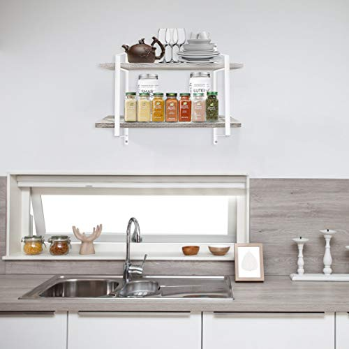 Urban Deco 2 Tier Wooden Floating Shelf Rustic Floating Shelves Wall Mounted Industrial Wall Shelves With Metal Brackets For KitchenBedroom Living Room Bathroom OfficeWhite 0 0