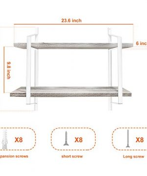 Urban Deco 2 Tier Wooden Floating Shelf Rustic Floating Shelves Wall Mounted Industrial Wall Shelves With Metal Brackets For KitchenBedroom Living Room Bathroom OfficeWhite 0 3 300x360