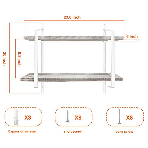 Urban Deco 2 Tier Wooden Floating Shelf Rustic Floating Shelves Wall Mounted Industrial Wall Shelves With Metal Brackets For KitchenBedroom Living Room Bathroom OfficeWhite 0 3