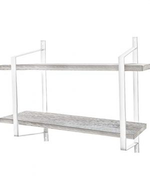 Urban Deco 2 Tier Wooden Floating Shelf Rustic Floating Shelves Wall Mounted Industrial Wall Shelves With Metal Brackets For KitchenBedroom Living Room Bathroom OfficeWhite 0 300x360