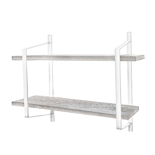 Urban Deco 2 Tier Wooden Floating Shelf Rustic Floating Shelves Wall Mounted Industrial Wall Shelves With Metal Brackets For KitchenBedroom Living Room Bathroom OfficeWhite 0