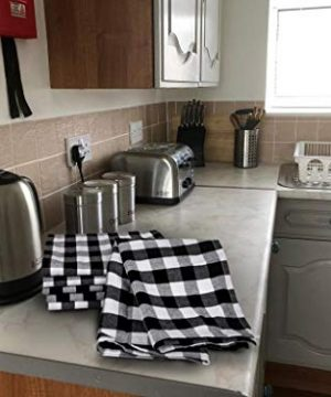 Urban Villa Kitchen Towels Premium Quality100 Cotton Dish TowelsMitered CornersUltra Soft Size 20X30 Inch BlackWhite Highly Absorbent Bar Towels Tea Towels Set Of 6 0 3 300x360