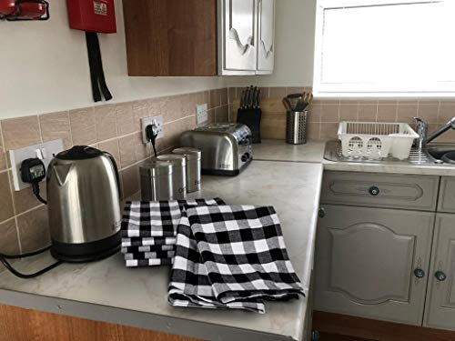 Urban Villa Kitchen Towels Premium Quality100 Cotton Dish TowelsMitered CornersUltra Soft Size 20X30 Inch BlackWhite Highly Absorbent Bar Towels Tea Towels Set Of 6 0 3