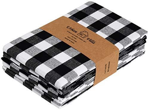 Urban Villa Kitchen Towels Premium Quality100 Cotton Dish TowelsMitered CornersUltra Soft Size 20X30 Inch BlackWhite Highly Absorbent Bar Towels Tea Towels Set Of 6 0