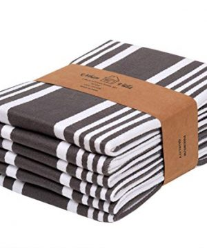Urban Villa Kitchen TowelsTrendy Stripes 100 Cotton Dish Towels Mitered Corners Size 20X30 Inch Dove GreyWhite Highly Absorbent Bar Towels Tea Towels Set Of 6 0 300x360