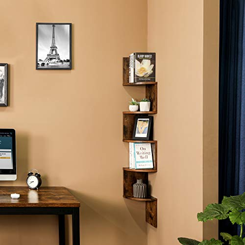 VASAGLE Corner Shelf 5 Tier Floating Wall Shelf With Zigzag Design Bookshelf Rustic Brown ULBC20BX 0 0