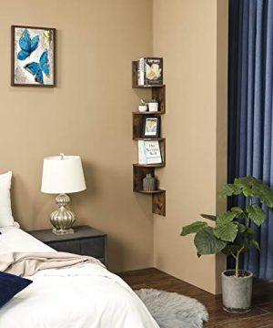 VASAGLE Corner Shelf 5 Tier Floating Wall Shelf With Zigzag Design Bookshelf Rustic Brown ULBC20BX 0 1 300x360