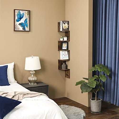 VASAGLE Corner Shelf 5 Tier Floating Wall Shelf With Zigzag Design Bookshelf Rustic Brown ULBC20BX 0 1