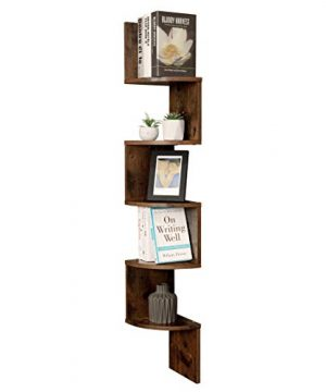 VASAGLE Corner Shelf 5 Tier Floating Wall Shelf With Zigzag Design Bookshelf Rustic Brown ULBC20BX 0 2 300x360