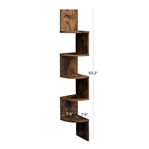 VASAGLE Corner Shelf 5 Tier Floating Wall Shelf With Zigzag Design Bookshelf Rustic Brown ULBC20BX 0 3