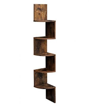 VASAGLE Corner Shelf 5 Tier Floating Wall Shelf With Zigzag Design Bookshelf Rustic Brown ULBC20BX 0 300x360
