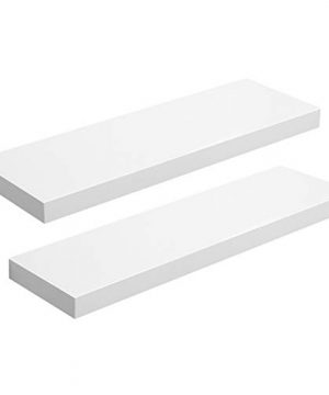 VASAGLE Floating Shelf Set Of 2 Wall Shelf 236 Inch Hanging Shelves Wall Mounted For Photos Decorations MDF White ULWS26WT 2 0 300x360