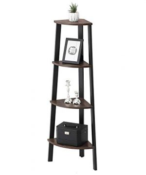 VASAGLE Industrial Corner Rack 4 Tier Ladder Shaped Bookcase For Home Study Free Standing Storage Shelves Plant Flower Shelf Rustic Dark Brown ULLS34BF 0 0 300x360