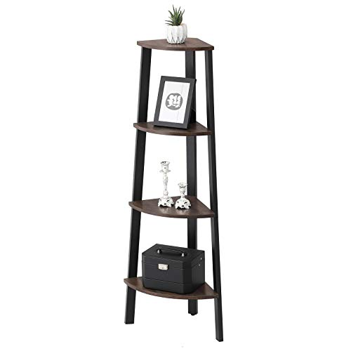 VASAGLE Industrial Corner Rack 4 Tier Ladder Shaped Bookcase For Home Study Free Standing Storage Shelves Plant Flower Shelf Rustic Dark Brown ULLS34BF 0 0
