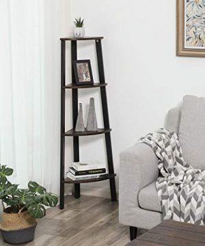 VASAGLE Industrial Corner Rack 4 Tier Ladder Shaped Bookcase For Home Study Free Standing Storage Shelves Plant Flower Shelf Rustic Dark Brown ULLS34BF 0 1 300x360