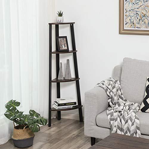 VASAGLE Industrial Corner Rack 4 Tier Ladder Shaped Bookcase For Home Study Free Standing Storage Shelves Plant Flower Shelf Rustic Dark Brown ULLS34BF 0 1