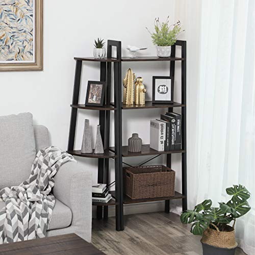 VASAGLE Industrial Corner Rack 4 Tier Ladder Shaped Bookcase For Home Study Free Standing Storage Shelves Plant Flower Shelf Rustic Dark Brown ULLS34BF 0 2