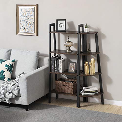 VASAGLE Industrial Corner Rack 4 Tier Ladder Shaped Bookcase For Home Study Free Standing Storage Shelves Plant Flower Shelf Rustic Dark Brown ULLS34BF 0 3