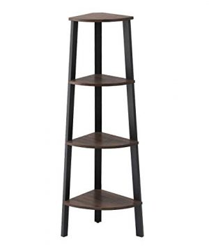VASAGLE Industrial Corner Rack 4 Tier Ladder Shaped Bookcase For Home Study Free Standing Storage Shelves Plant Flower Shelf Rustic Dark Brown ULLS34BF 0 300x360
