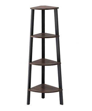 VASAGLE Industrial Corner Rack 4 Tier Ladder Shaped Bookcase For Home Study Free Standing Storage Shelves Plant Flower Shelf Rustic Dark Brown ULLS34BF Renewed 0 300x360