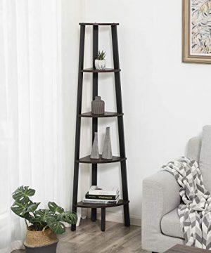 VASAGLE Industrial Corner Shelf 5 Tier Ladder Bookcase Storage Rack With Metal Frame For Living Room Home Office Rustic Dark Brown ULLS35BF 0 0 300x360