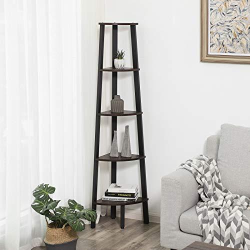 VASAGLE Industrial Corner Shelf 5 Tier Ladder Bookcase Storage Rack With Metal Frame For Living Room Home Office Rustic Dark Brown ULLS35BF 0 0