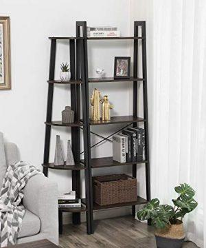 VASAGLE Industrial Corner Shelf 5 Tier Ladder Bookcase Storage Rack With Metal Frame For Living Room Home Office Rustic Dark Brown ULLS35BF 0 1 300x360