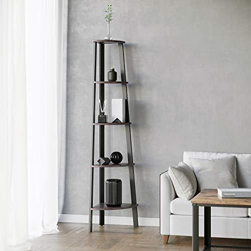 VASAGLE Industrial Corner Shelf 5 Tier Ladder Bookcase Storage Rack With Metal Frame For Living Room Home Office Rustic Dark Brown ULLS35BF 0 2
