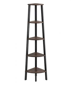 VASAGLE Industrial Corner Shelf 5 Tier Ladder Bookcase Storage Rack With Metal Frame For Living Room Home Office Rustic Dark Brown ULLS35BF 0 300x360