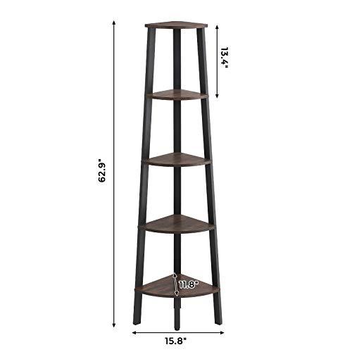 VASAGLE Industrial Corner Shelf 5 Tier Ladder Bookcase Storage Rack With Metal Frame For Living Room Home Office Rustic Dark Brown ULLS35BF 0 4