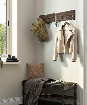 VASAGLE Wall Mounted Coat Rack Rustic Style Hook Rack With 4 Double Hooks No Assembly Required For Entryway Foyer Hallway Rustic Brown ULCH05BK 0 2 300x360