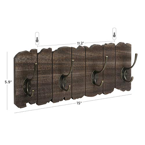 VASAGLE Wall Mounted Coat Rack Rustic Style Hook Rack With 4 Double Hooks No Assembly Required For Entryway Foyer Hallway Rustic Brown ULCH05BK 0 3