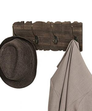 VASAGLE Wall Mounted Coat Rack Rustic Style Hook Rack With 4 Double Hooks No Assembly Required For Entryway Foyer Hallway Rustic Brown ULCH05BK 0 5 300x360