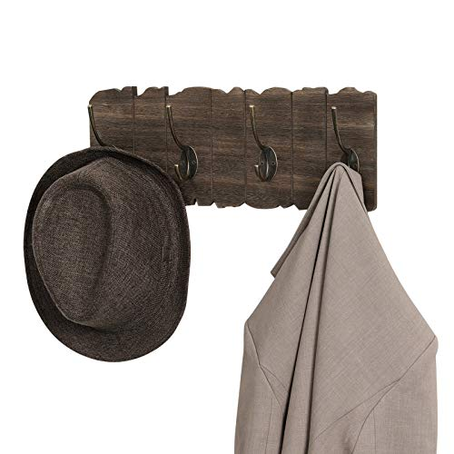 VASAGLE Wall Mounted Coat Rack Rustic Style Hook Rack With 4 Double Hooks No Assembly Required For Entryway Foyer Hallway Rustic Brown ULCH05BK 0 5