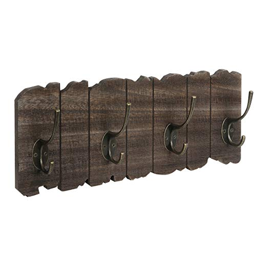 VASAGLE Wall Mounted Coat Rack Rustic Style Hook Rack With 4 Double Hooks No Assembly Required For Entryway Foyer Hallway Rustic Brown ULCH05BK 0