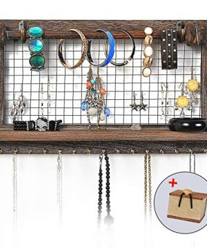 VIEFIN Rustic Wall Mounted Mesh Jewelry Organizer Wood Shabby Chic Earring Holder With Shelf Hanging Hook For Necklace Removable Rod For BraceletRusticStandard 0 0 300x360