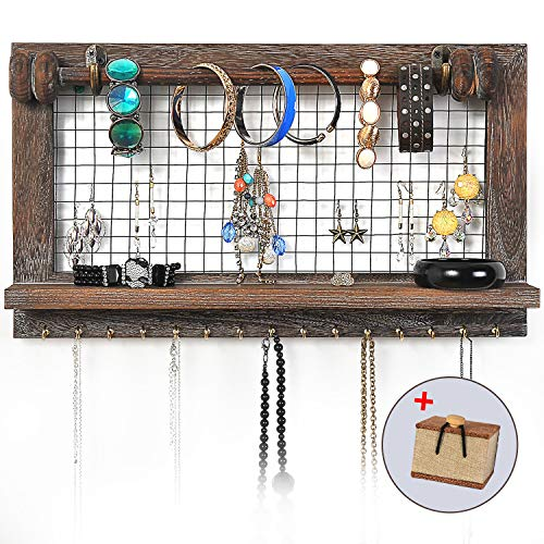 VIEFIN Rustic Wall Mounted Mesh Jewelry Organizer Wood Shabby Chic Earring Holder With Shelf Hanging Hook For Necklace Removable Rod For BraceletRusticStandard 0 0