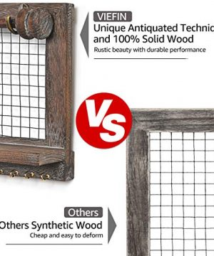 VIEFIN Rustic Wall Mounted Mesh Jewelry Organizer Wood Shabby Chic Earring Holder With Shelf Hanging Hook For Necklace Removable Rod For BraceletRusticStandard 0 2 300x360