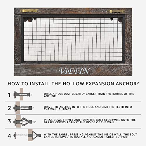 VIEFIN Rustic Wall Mounted Mesh Jewelry Organizer Wood Shabby Chic Earring Holder With Shelf Hanging Hook For Necklace Removable Rod For BraceletRusticStandard 0 4