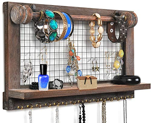 VIEFIN Rustic Wall Mounted Mesh Jewelry Organizer Wood Shabby Chic Earring Holder With Shelf Hanging Hook For Necklace Removable Rod For BraceletRusticStandard 0
