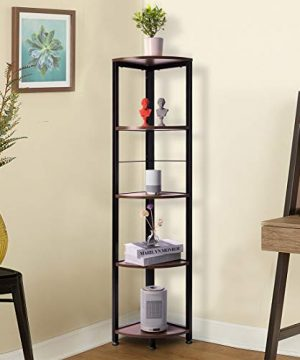 VIVOHOME 5 Tier Corner Shelf Industrial Wood Plant Stand Storage Rack With Metal Frame For Living Room Home Office Kitchen 0 0 300x360
