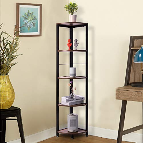 VIVOHOME 5 Tier Corner Shelf Industrial Wood Plant Stand Storage Rack With Metal Frame For Living Room Home Office Kitchen 0 0