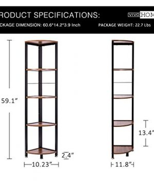 VIVOHOME 5 Tier Corner Shelf Industrial Wood Plant Stand Storage Rack With Metal Frame For Living Room Home Office Kitchen 0 1 300x360