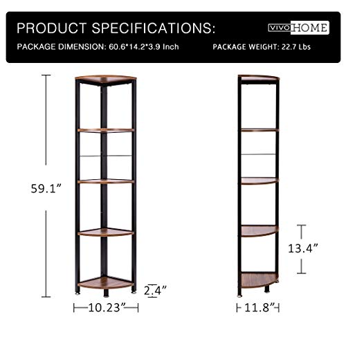 VIVOHOME 5 Tier Corner Shelf Industrial Wood Plant Stand Storage Rack With Metal Frame For Living Room Home Office Kitchen 0 1
