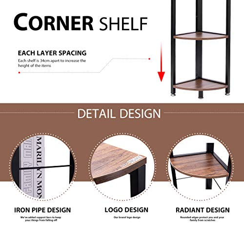 VIVOHOME 5 Tier Corner Shelf Industrial Wood Plant Stand Storage Rack With Metal Frame For Living Room Home Office Kitchen 0 3