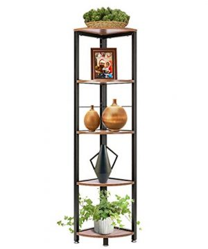 VIVOHOME 5 Tier Corner Shelf Industrial Wood Plant Stand Storage Rack With Metal Frame For Living Room Home Office Kitchen 0 300x360