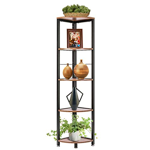 VIVOHOME 5 Tier Corner Shelf Industrial Wood Plant Stand Storage Rack With Metal Frame For Living Room Home Office Kitchen 0